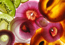 Rebanadas de la fruta y verdura Foto de archivo libre de regalías