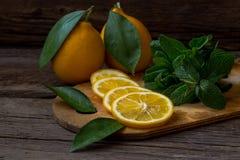 Rebanadas de la menta fresca y del limón en el tablero de madera Fotos de archivo