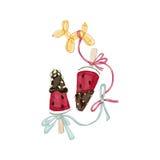 Rebanadas de la sandía en chocolate con el globo Foto de archivo libre de regalías
