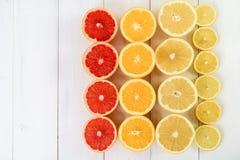 Rebanadas de los agrios de la naranja, del pomelo, del limón y de la cal Fotografía de archivo libre de regalías