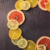 Rebanadas de los agrios de limón, naranja, pomelo en forma del círculo en fondo oscuro Foto de archivo