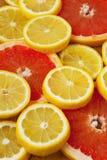 Rebanadas de los agrios Pomelos y limones en el fondo de madera Fotografía de archivo