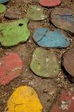 Rebanadas de madera coloridas fotos de archivo libres de regalías