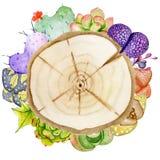 Rebanadas de madera de la acuarela pintada a mano rodeadas por el cactus y las plantas suculentas stock de ilustración