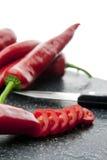 Rebanadas de paprika roja Fotos de archivo libres de regalías