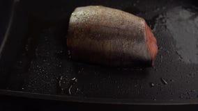 Rebanadas de pescados rojos fritos en una cacerola almacen de video