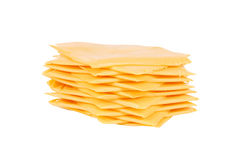 Rebanadas de queso americano Imágenes de archivo libres de regalías