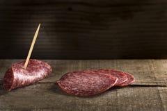 Rebanadas de salami Foto de archivo libre de regalías