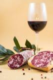 Rebanadas de salami italiano en el pan y un poco de especias y vino Imagen de archivo libre de regalías