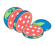 Rebanadas de salami de la tierra Planeta tajado Ilustración del vector libre illustration