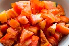 Rebanadas de tomate en primer Imagen de archivo
