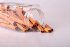 Rebanadas de una corteza del cinamomo en la batería Imagen de archivo libre de regalías