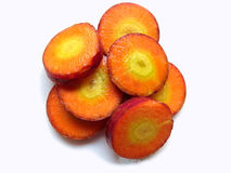 Rebanadas de zanahoria roja Fotografía de archivo libre de regalías