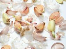 Rebanadas del ajo y cáscaras del ajo imagenes de archivo