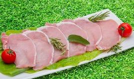 Rebanadas del hígado del cerdo en la placa con el fondo de la hierba verde Foto de archivo