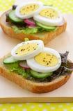 Rebanadas del huevo en el pan del trigo integral Imágenes de archivo libres de regalías