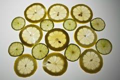 Rebanadas del limón en el fondo blanco Imagen de archivo libre de regalías