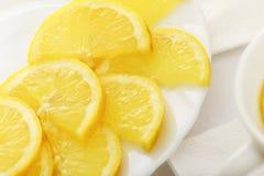 Rebanadas del limón en un plato Foto de archivo libre de regalías