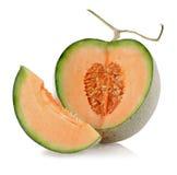 Rebanadas del melón del cantalupo Imagenes de archivo