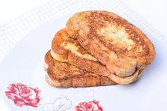 Rebanadas del pan frito Desayuno búlgaro fotografía de archivo