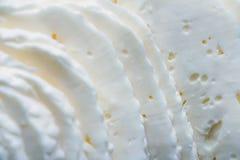 Rebanadas del primer de queso curado en salmuera imagen de archivo libre de regalías