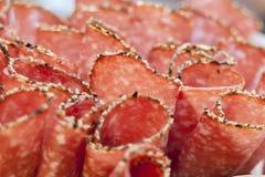 Rebanadas del salami Fotografía de archivo libre de regalías