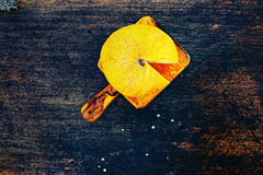 Rebanadas frescas del melón del cantalupo en un fondo oscuro imágenes de archivo libres de regalías