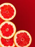 Rebanadas frescas del pomelo aisladas en un rojo de la pendiente Fotos de archivo