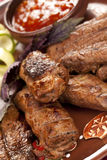 Rebanadas jugosas de carne Fotos de archivo