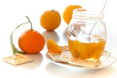Rebanadas peladas de la mandarina en una galleta Imagen de archivo libre de regalías