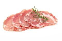 Rebanadas secadas de la carne de cerdo Delicatess Imagenes de archivo