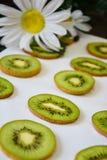 Rebanadas verdes de fruta de kiwi en el fondo blanco imagenes de archivo