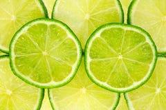 Rebanadas verdes del limón. Foto de archivo