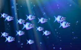 Rebanho azul do fundo dos predadores selvagens de peixes pequenos Os desenhos animados engraçados chanfram a vida marinha aperfe ilustração stock