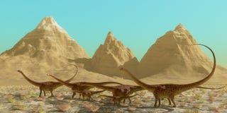 Rebanho do dinossauro do Diplodocus ilustração royalty free