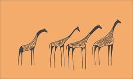 Rebanho do Petroglyph dos girafas Fotografia de Stock Royalty Free