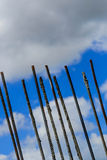 Rebar against a cloudy sky Stock Photos