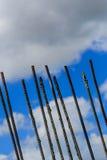 Rebar against a cloudy sky. Construction rebar against a cloudy sky Stock Photos