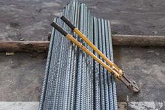 Rebar and bolt cutters. At building site stock image