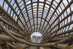 Rebar cage perspective Stock Image