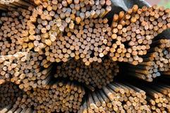 Rebar de aço empilhado Foto de Stock