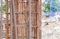 Rebar en acier utilisé pour le projet de construction de chantier de construction Images stock