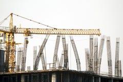 Rebar kolom in bouwwerf Royalty-vrije Stock Fotografie