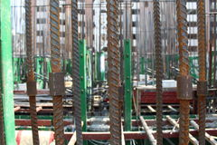 Rebar and steel coupler for building construction stock photo