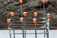 Rebar structure for pillar construction Royalty Free Stock Images