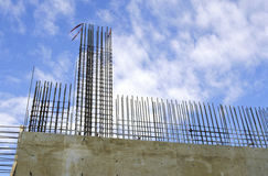 Rebar wall construction. Rebar and concrete wall construction Royalty Free Stock Photo