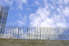 Rebar wall construction. Rebar and concrete wall construction Stock Image