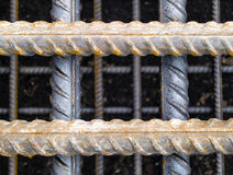 Rebars. Close view of rusty steel reinforcing bars at a construction site Stock Photos