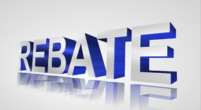 Rebate. In 3D blue and white block letters reflecting on surface Stock Images