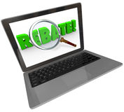 Rebate Word Computer Laptop Screen Online Shopping Bargain Stock Photography